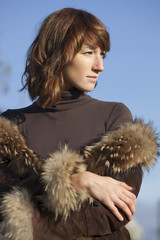woman in fur coat outdoor