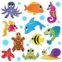 Funny fishes. Vector illustration.