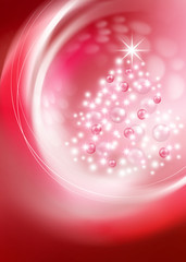 bright Christmas tree on red background