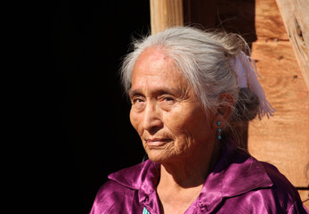 Beautiful Navajo Elderly Woman Outdoors in Bright Sun