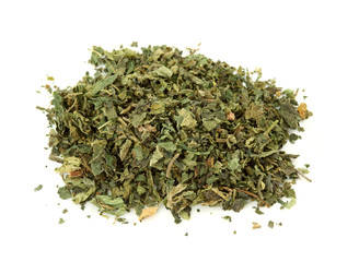 Dried nettle tea isolated on the white background