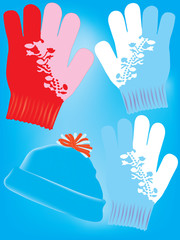 Warm gloves and hat
