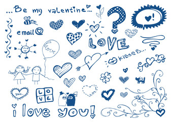 freehand elements with love / doodles style set / vector