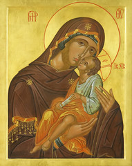 Icon of Madonna Mother of God (Mary) and child (Jesus Christ)