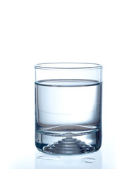 Water glass on white