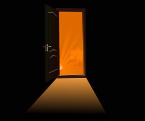door to orange sunset