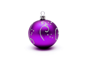 Purple christmas ball with silver pattern isolated on white back