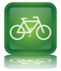 """Bicycle"" Button (square - green - shiny - vector - reflection)"