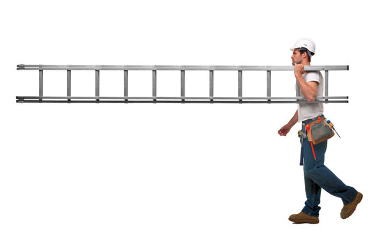 Builder with ladder