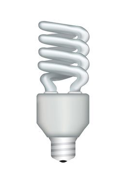 vector fluorescent light bulb isolated