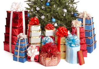 Group gift box, christmas tree with blue ball. Isolated.