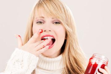 happy teenage girl with raspberry jam
