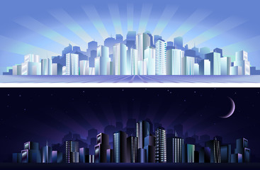 Day and night abstract modern cityscapes