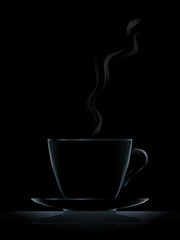 Black cup with black coffee on black background