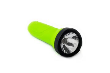 Green flashlight isolated on white background