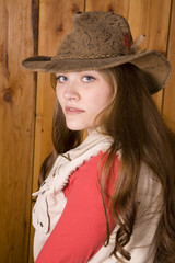 woman close up with brown hat