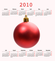 Calendar of year 2010 with a Christmas ball
