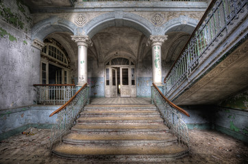 Canvas Prints Old Hospital Beelitz Old stairs in Beelitz