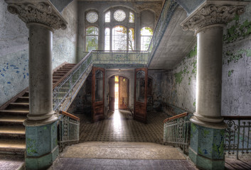 Canvas Prints Old Hospital Beelitz Eingang ins Sanatorium Beelitz