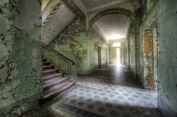 Canvas Prints Old Hospital Beelitz light behind the door