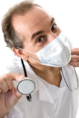 Medic with stethoscope and medical mask.
