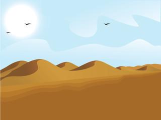 landscape view of desert, sand dunes