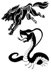 vector illustration tattoo (wolf, snake)