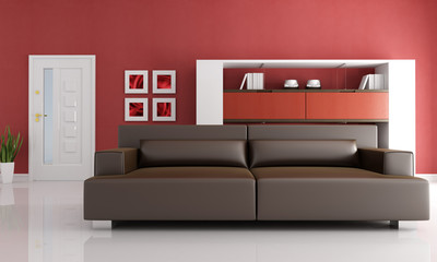 modern brown leather couch in a modern living