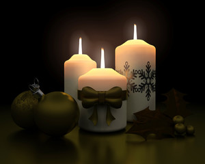 traditional christmas candle and decorations