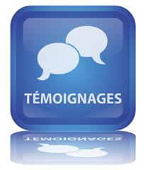 """Bouton """"Témoignages"""" (carré - bleu - vecteur - reflet)"""