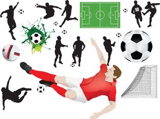 Set of soccer elements