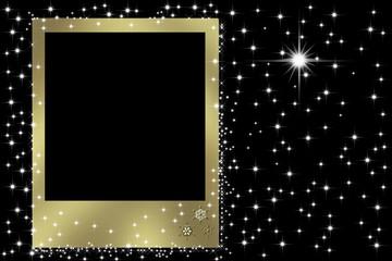 marco dorado en fondo noche estrellas