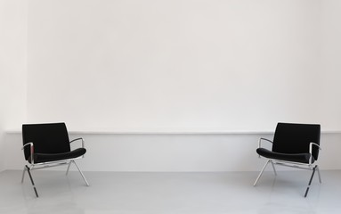 Chairs to face a blank wall