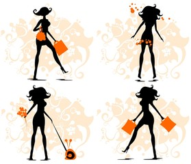 Silhouettes of the woman