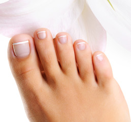 Wall Murals Pedicure well-groomed toys on a single female foot