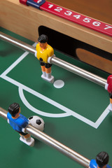 Foosball Table About to Score a Goal