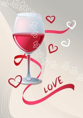 A glass of red wine on beige background