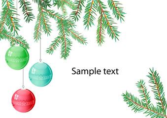 Three christmas balls hangind on a branch of fir