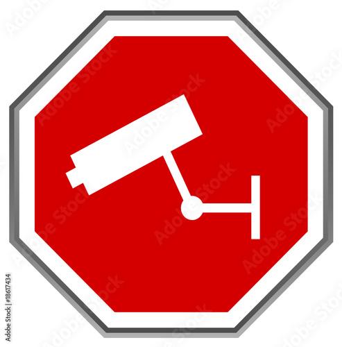 Panneau stop vid osurveillance signalisation vecteur - Combien de panneau stop a paris ...