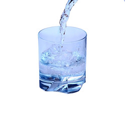 Water in the glass isolated on white