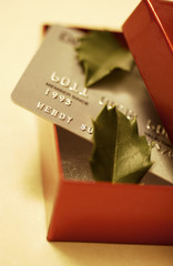Credit card in gift box