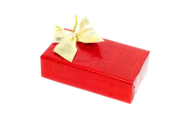Christmas and New Year red  gift box. Isolated.