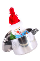 Funny New Year decoration- snowman in saucepan.