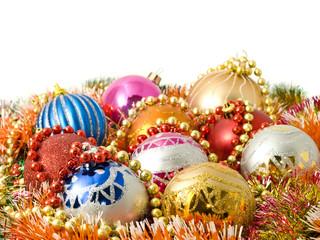 Beautiful Christmas decoration - balls and colorful tinsel