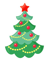 Vector illustration of a xmas tree over a white background