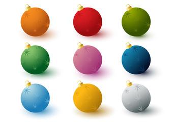 Set of 3d decorated balls