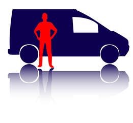 Tool man with van vector illustration