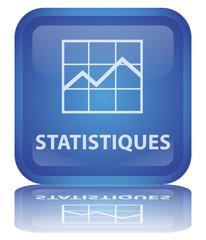 """Bouton """"Statistiques"""" (carré - bleu - vecteur - reflet)"""