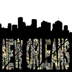 New Orleans grunge text with skyline
