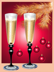 Champagne flutes and Christmas tree